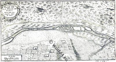 PLAN, PARIS,César,Clovis,Julius Caesar,map,ancient,lutetia
