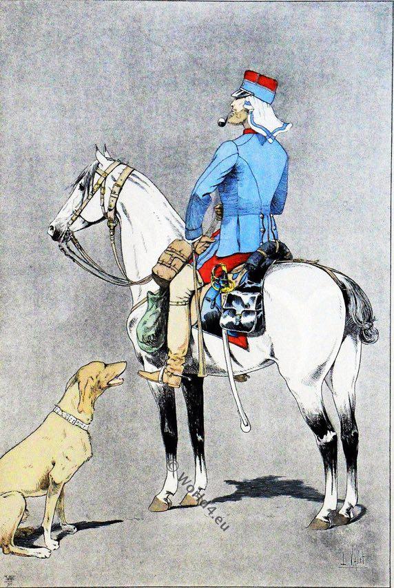 uniforme militaire, Algérie Officier, Chasseurs, colonne