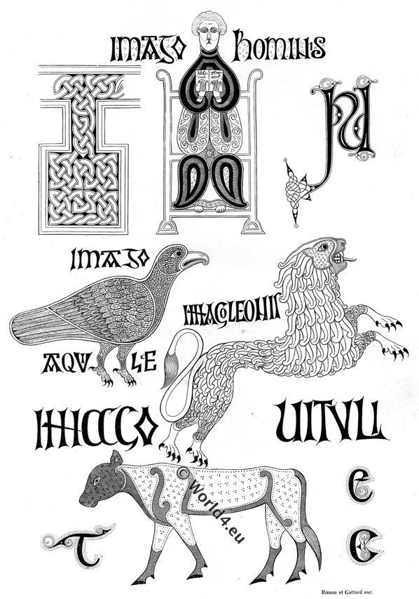 Calligraphie, Xe Siècle, Anglo-Saxon,Evangéliaire latin