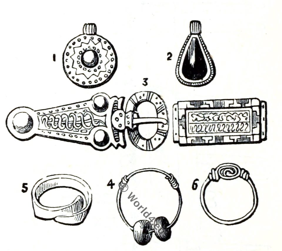 Anglo-Saxon buckle, rings, earrings, England medieval jewelry