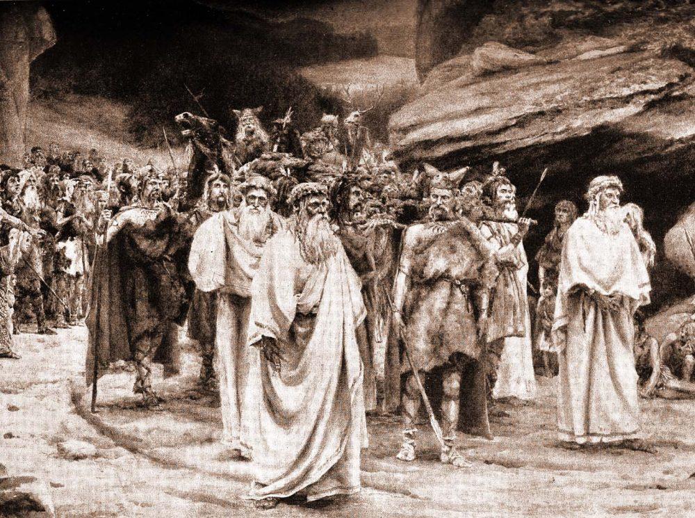 Celtic funeral, England, Druids. Britons. British costume.