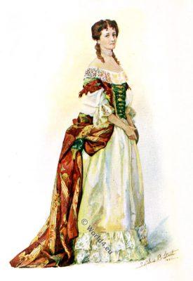 England baroque fashion. 17th century dress