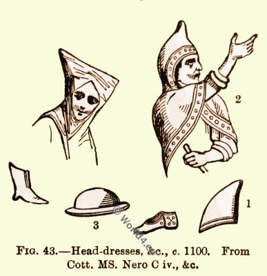 Norman, head, coverings, England, medieval fashion, 10th century costumes