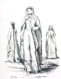 Female, costume, middle ages, England, 11th century