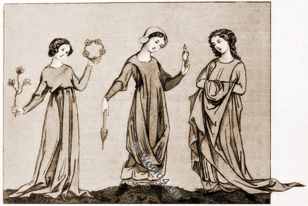 Young girls, thirteenth century, costumes, middle ages