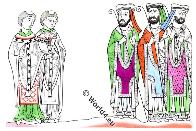 Ecclesiastics, clergy, Bishop, monks, norman,middle ages, dress,pastoral, staff, Henry Shaw,