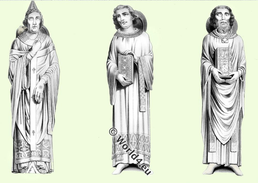Chartres,Cathedral,Ecclesiastics,SCULPTURES, Bishop,Priest,archbishop,chasuble, mitre,costume,Henry Shaw