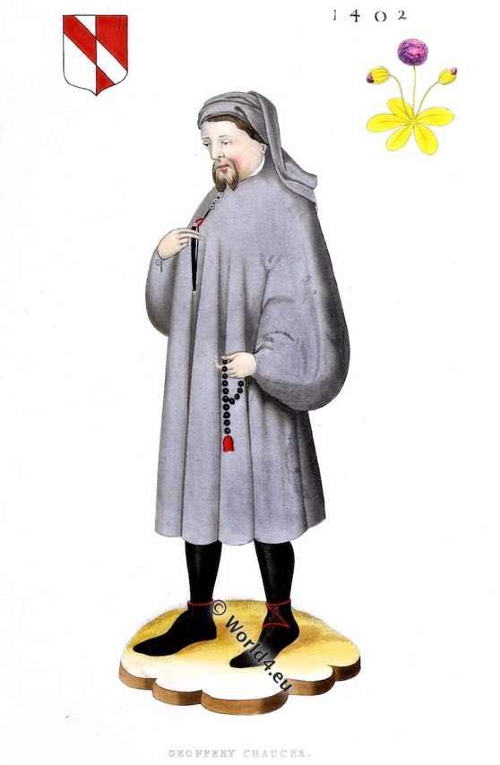 Geoffrey Chaucer, Middle ages, 14th,century, Canterbury Tales, Henry Shaw, costume, poet, England, English literature