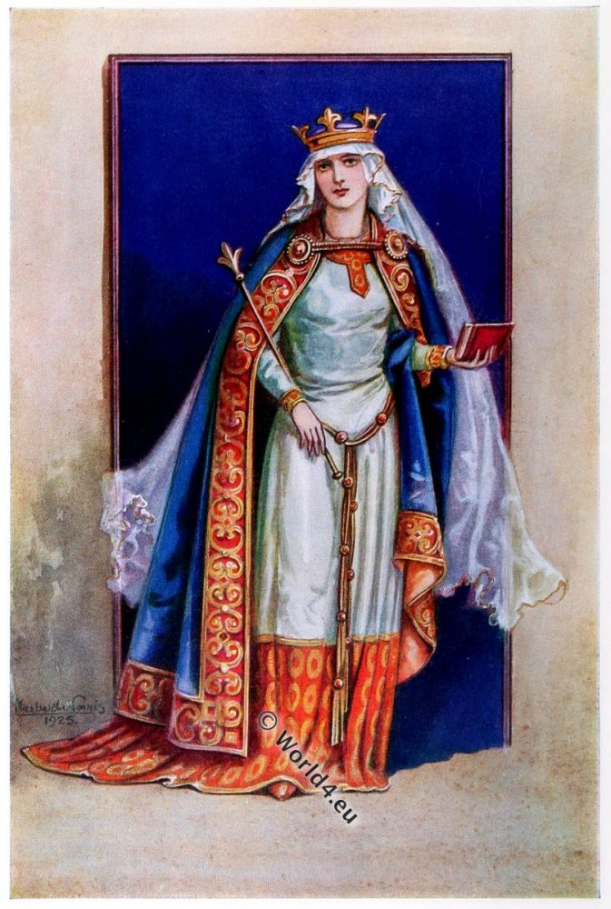 Matilda of Flanders, Queen, England, 11th century,Middle ages, medieval, nobility, costume, fashion