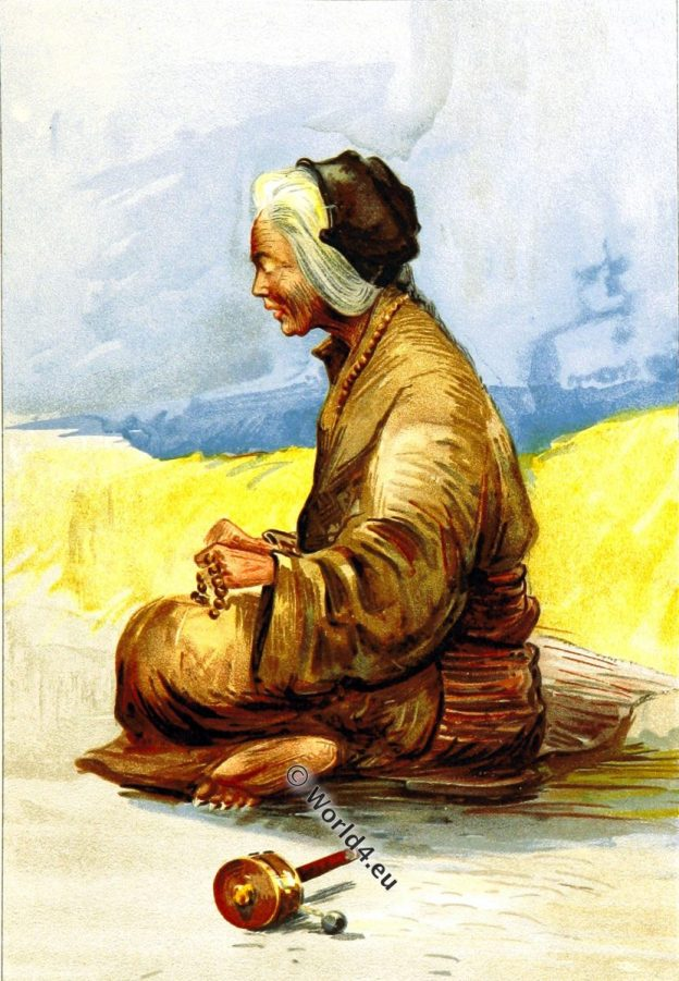 Tibet, Tibetan, Fortune, Teller, 19th century, traditional, costume