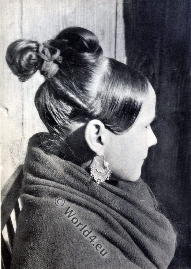 spain, costume, coiffure, espagnol, hairdress