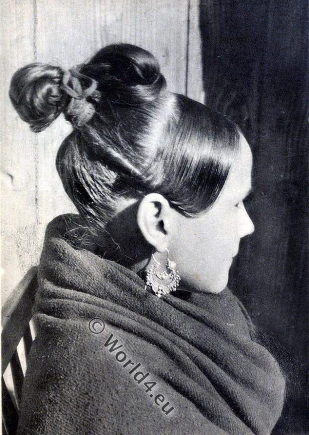 spain, costume, coiffure, espagnol, hairdress