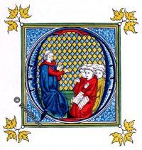 14th century, Initial letter, middle ages, manuscript, MS. Burney