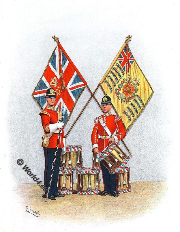 British Army, Border Regiment, 34th, 55th Foot, Uniforms