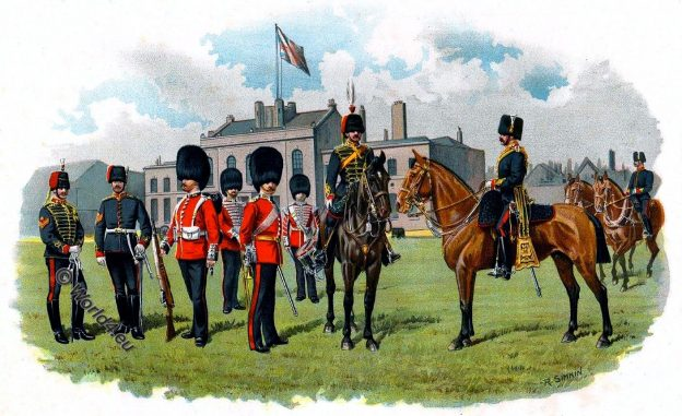 Honorable Artillery Company, British army, Regiment, cavalry, uniform, military, england, soldier, costumes, Richard Simkin, Army and Navy Gazette