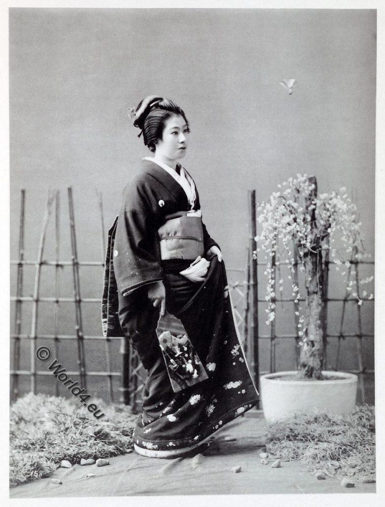 Japan, historical, Kimono, costume, Kazuma Ogawa, Photographer, Battle-dore, shuttle-cock,