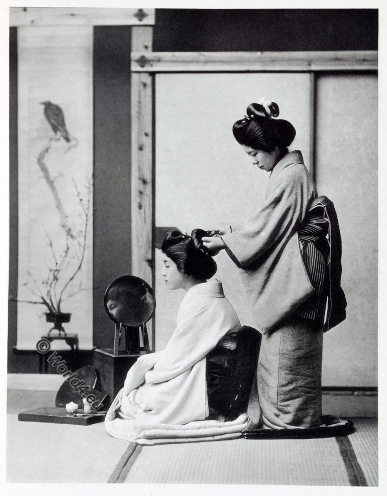 Hair-dressing, Japan, historical, Kazuma Ogawa, Photographer,