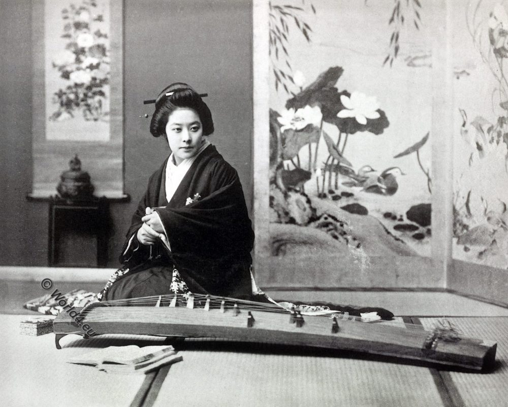 Koto playing, historical, historic, Japan, costume, Kazuma Ogawa, Photographer,