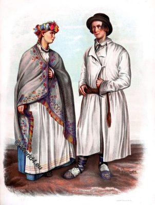 Latvia, Lettish costumes, Vitebsk, Lyutsinsky, garb, dress, traditional, national costume
