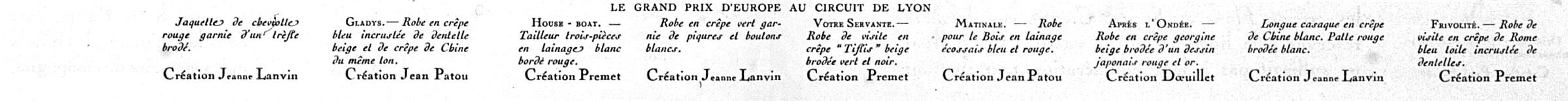 Description, Fashion, Georges Dœuillet, Jeanne Lanvin, Jean Patou, Premet, 1920s