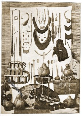 Zulu, ornaments, utensils, weapons, shield, tribe, tribal, South Afrika, instruments, music, colonialism