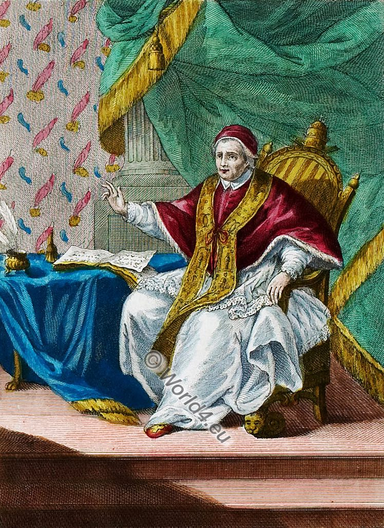 Roman Pope, chamber clothes, costume, illustration, catholic, 18th, century, costume history