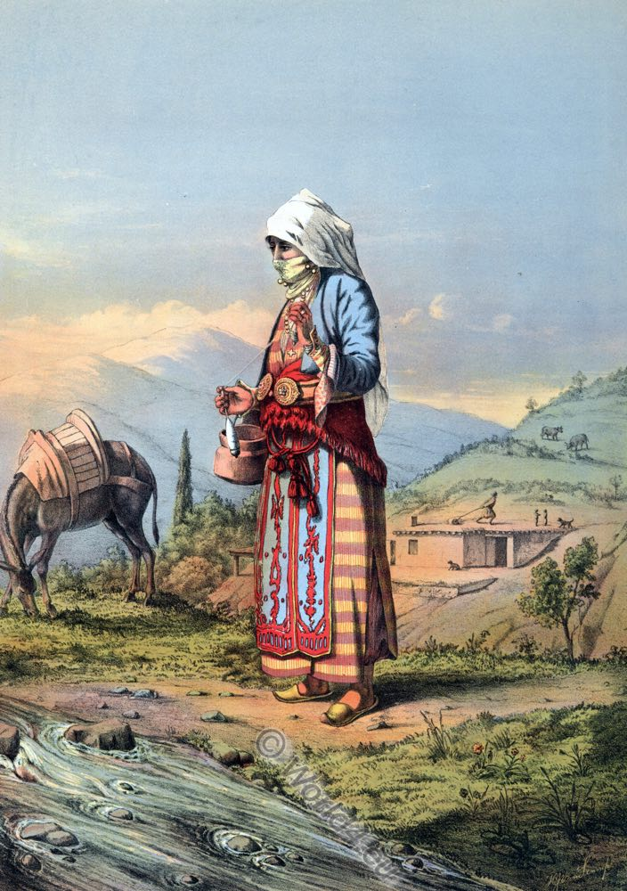 Armenian Peasant Woman, Ottoman costumes, Ottoman Empire, Historical Clothing, Turkey, Costume history