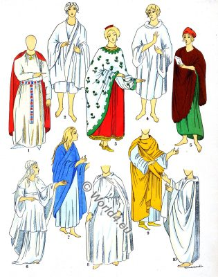 Ancient Gallic cloaks, Gauls, dresses, fashion, Merovingian costume history, Paul-Louis de Giafferri