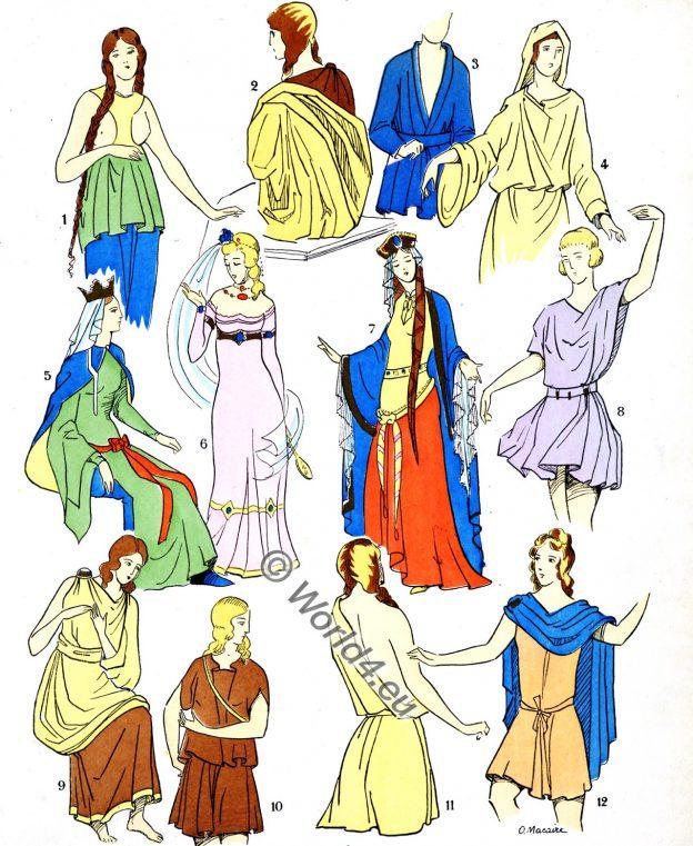 Gallic Busts, Gauls, dresses, Merovingian costume history