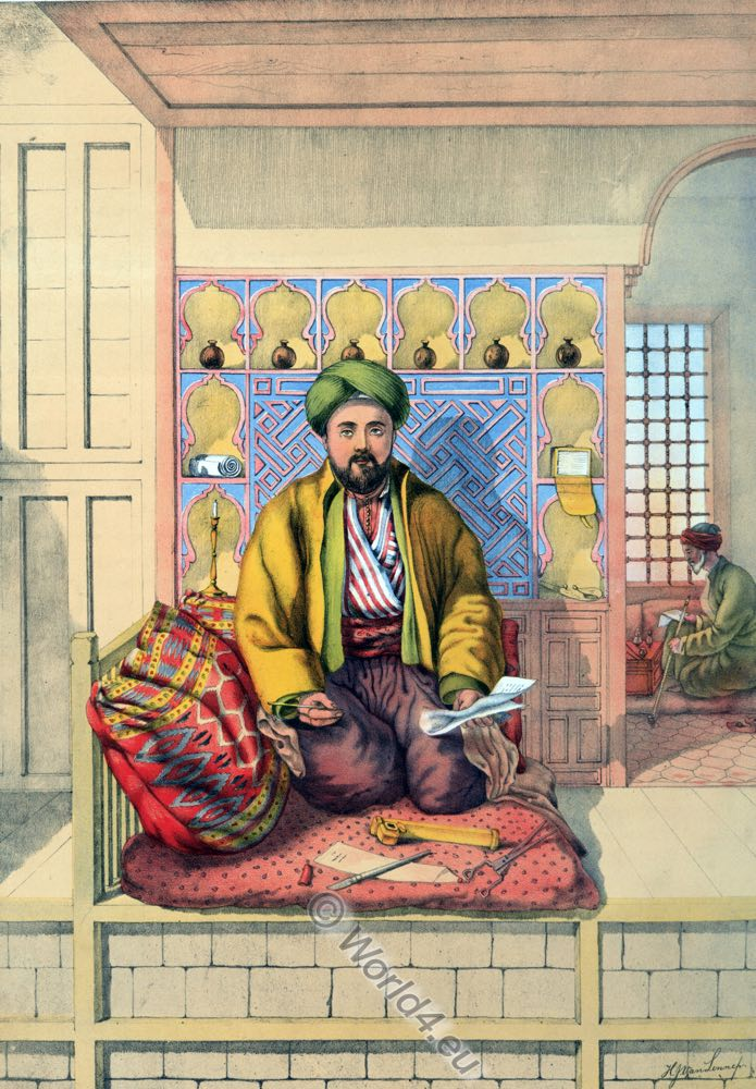 Turkish Scribe, Oriental Album, Ottoman costumes, Ottoman Empire, Historical Clothing, Turkey, Costume history