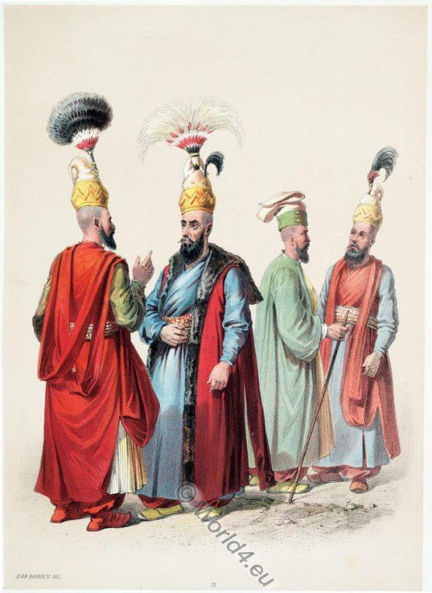 Ottoman costumes, Jean Brindesi, Basch Tshaousch, Kol Kiayassi, Capidji Baschi, Orta Tschaoushi.