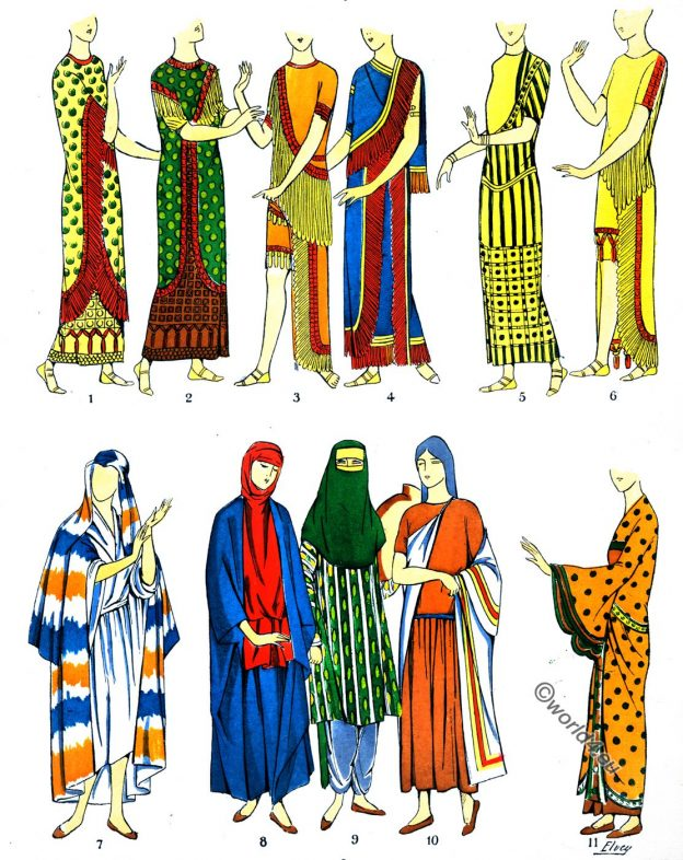 Ancient, Assyria, Fashion History, Dresses, Coats, Shawls