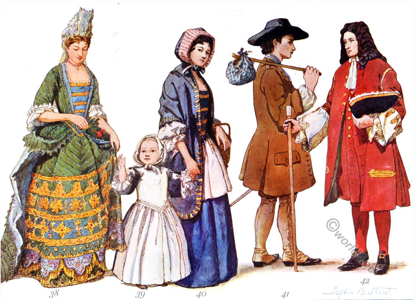 Historic, dress, baroque, england, fashion history, james, william, mary, Elisabeth McClellan