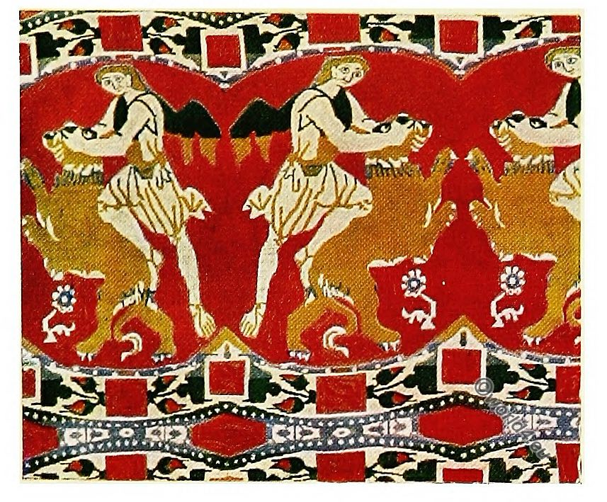 Samson, lion, Antique, Fabrics, Silk, Pattern, Alexandria, Egypt,