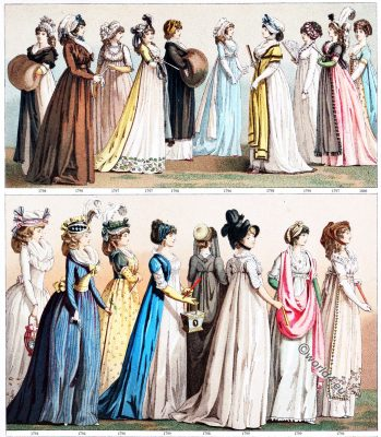 Costumes, Directoire, Empire, Regency, fashion, history, Auguste Racinet, French revolution,