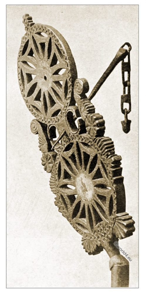 Sveikele, Needle, Carved, Spinning-Board, Lithuania, peasant art, Decorative arts, ornaments, woodwork, Crafts