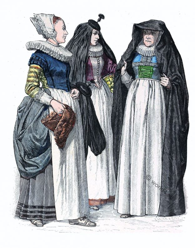 Baroque, fashion, Germany, 17th century, Matron, maid, citizen,