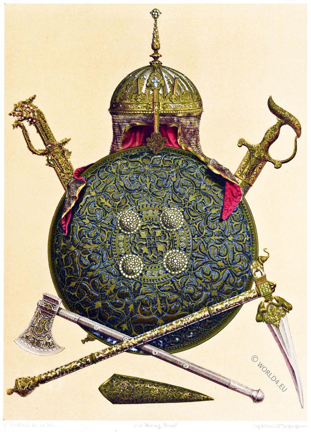 armor, weapons, Battle axe, Damascus steel,