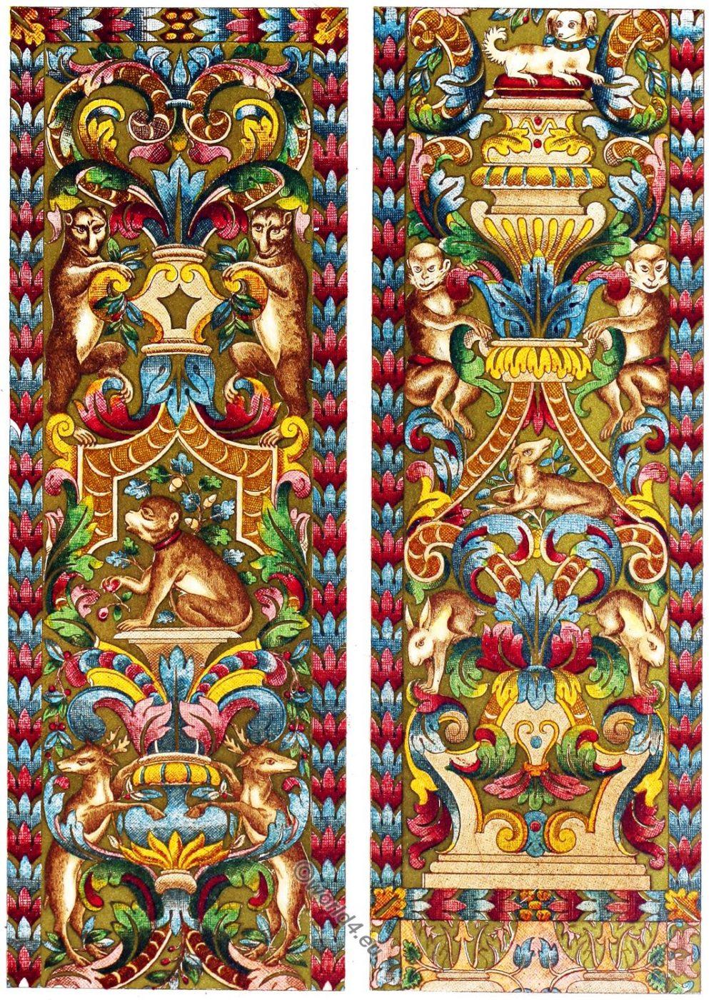 Renaissance, Italian, embroidery, silk hangings, 16th century,