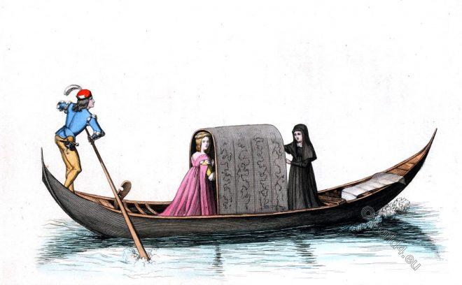 Costumes, historiques, Gondole, Vénitienne, Venetian, gondola, gondolier