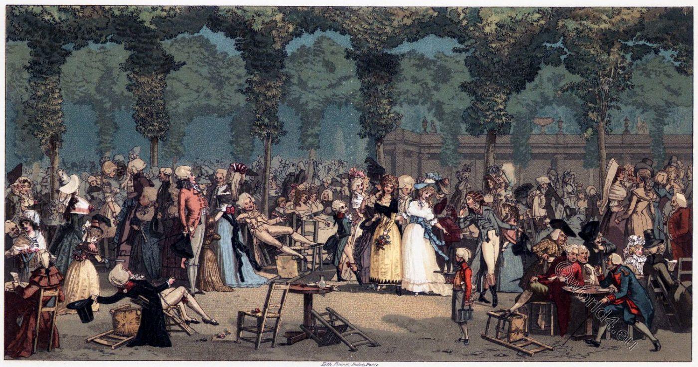 Promenade, publique, Palais-Royal, Société, parisienne, costume, mode, directoire