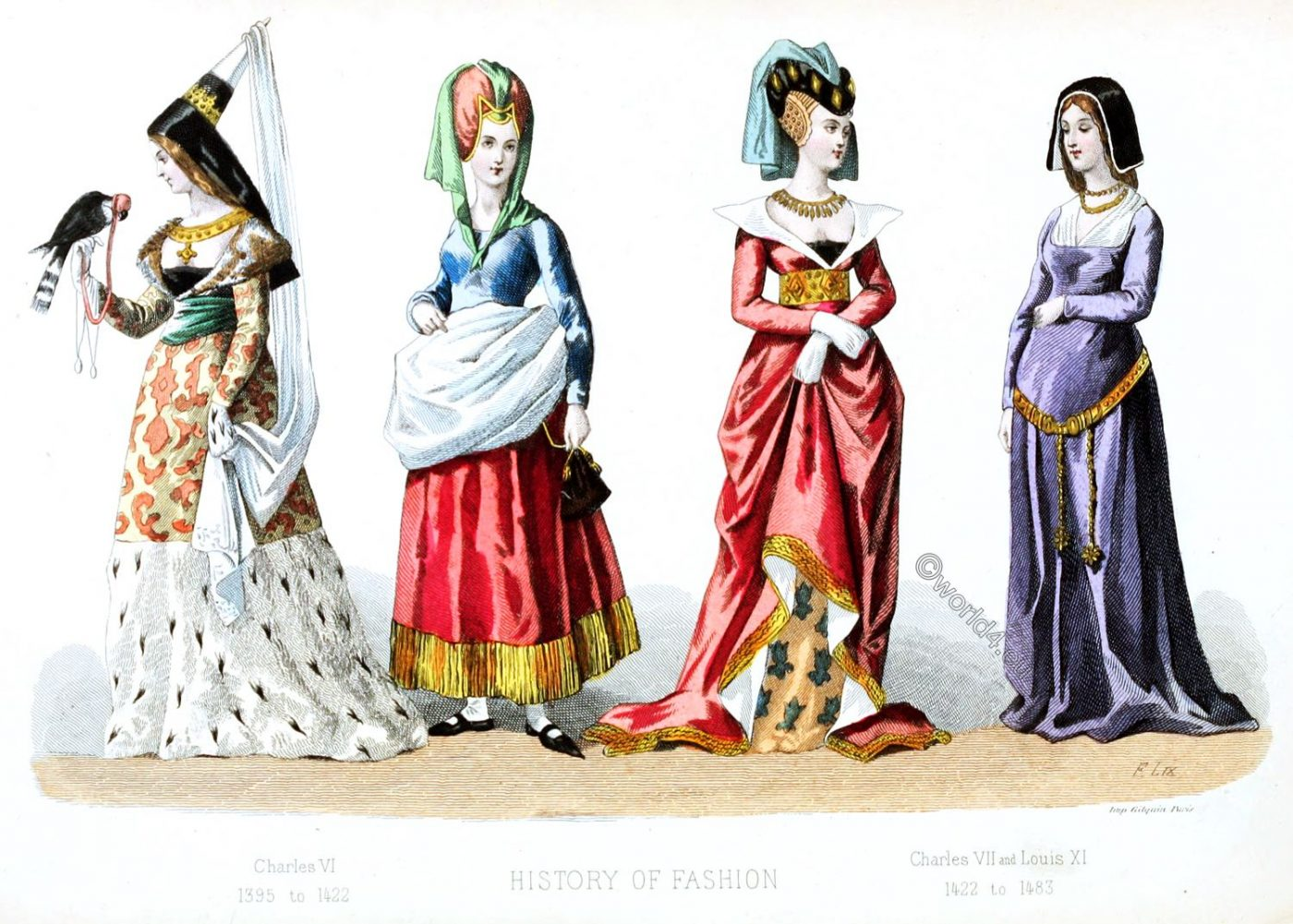 History, Fashion, France, Middle ages, costumes, hennin, gothic