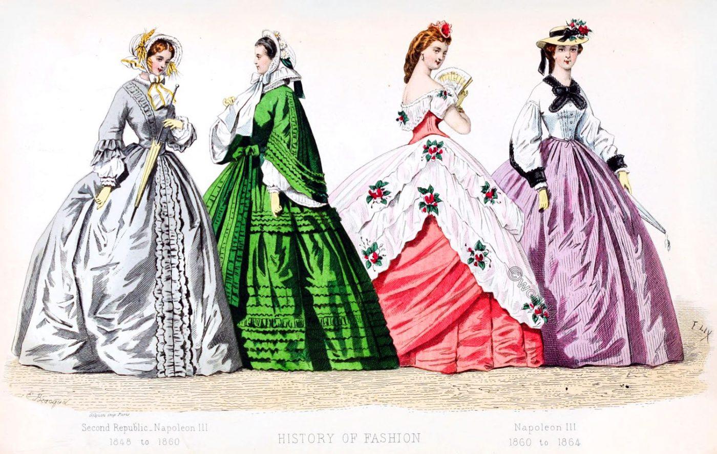 Crinoline,fashion history, Romantic, Napoleon III, Second Republic,