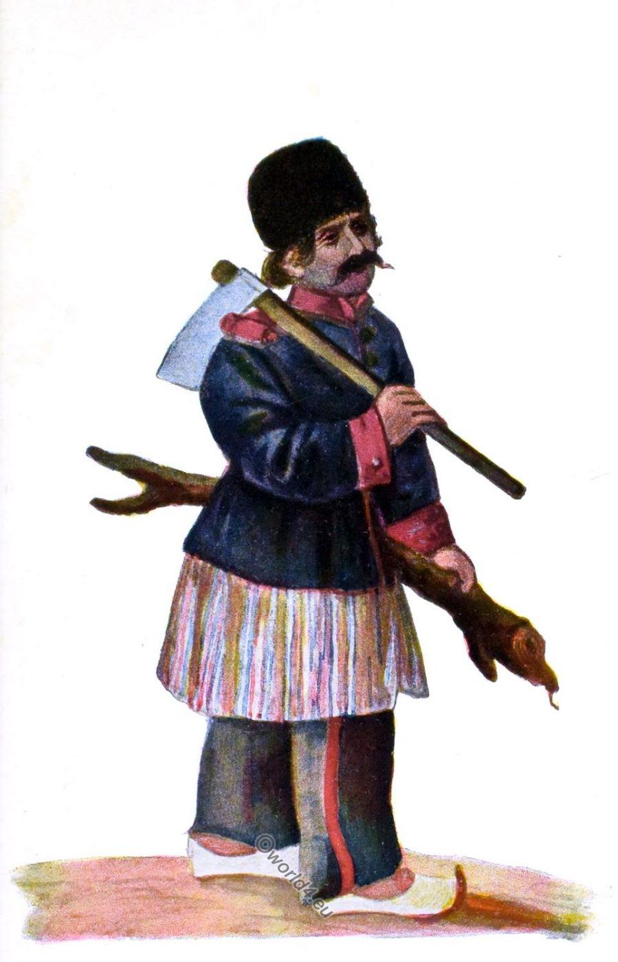 Taghidjan Mazenderani, soldier, woodcutter, Iran, Persia, costume