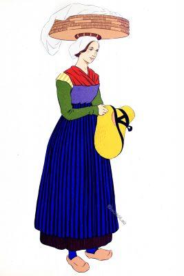 Auvergne, Saint-Flour, costume, traditional clothing, woman, France,