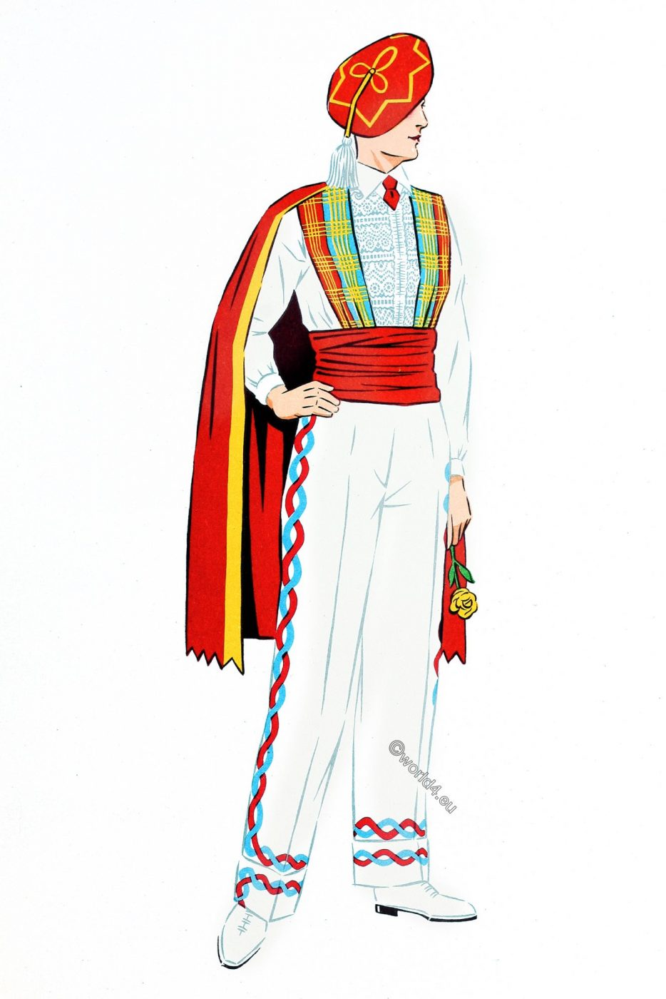 Basque, Dancer, costume, French, traditional clothing,