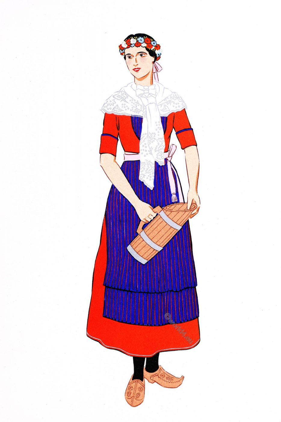 Basque, Woman, Costume, French, traditional clothing,