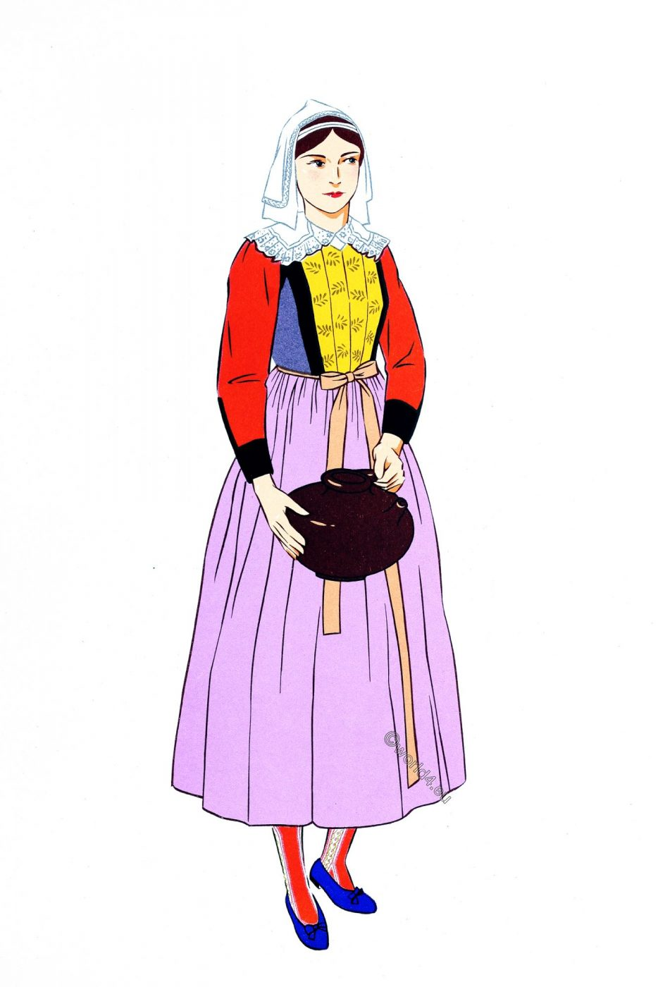 French traditional clothing, Batz, Brittany, Finistère, folk costume,