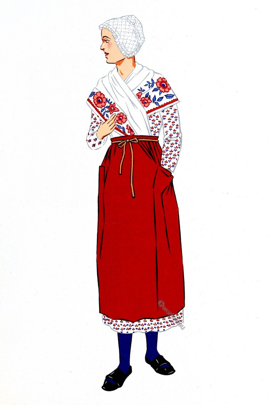Burgundy, costume, traditional clothing, woman, France
