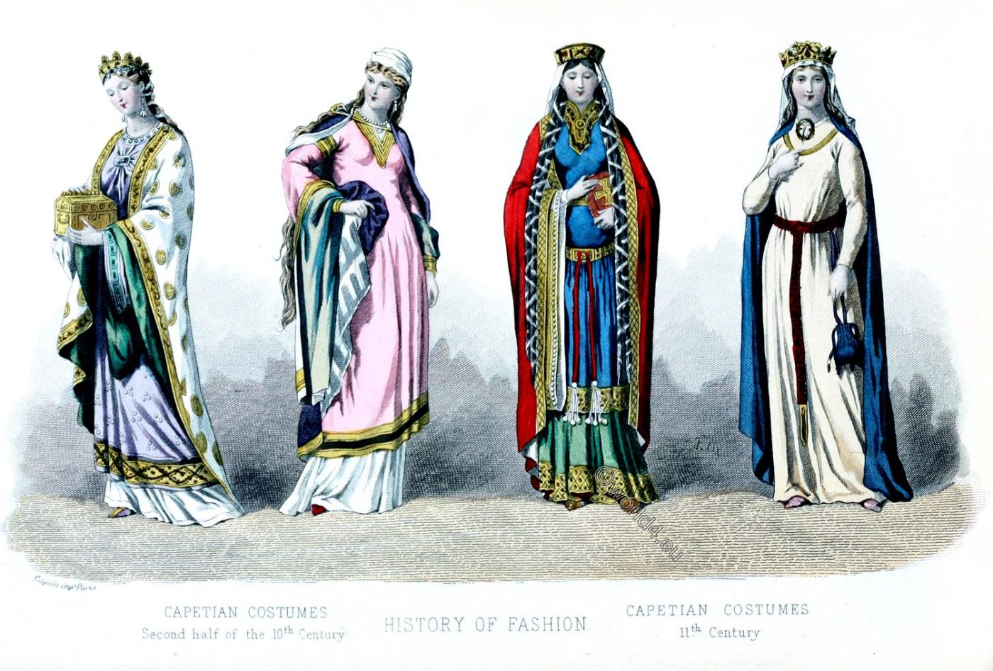 Capetian costumes , fashion, france, middle ages, Queens,